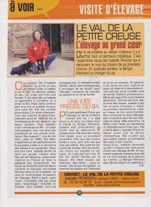 article de presse sur l'élevage de berger allemand du Val de la Petite Creuse, l'élevage au grand coeur